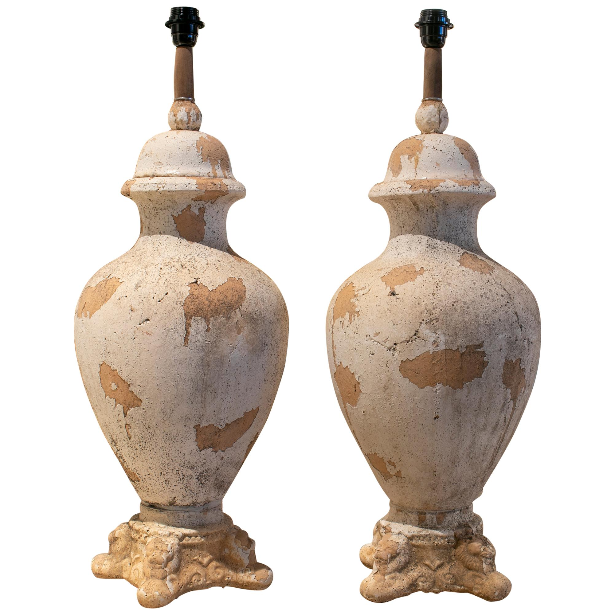 1990s Pair of French Terracotta Table Lamps