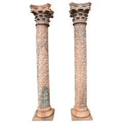 1990s Pair of Hand Carved Rosetta Marble Corinthian Columns