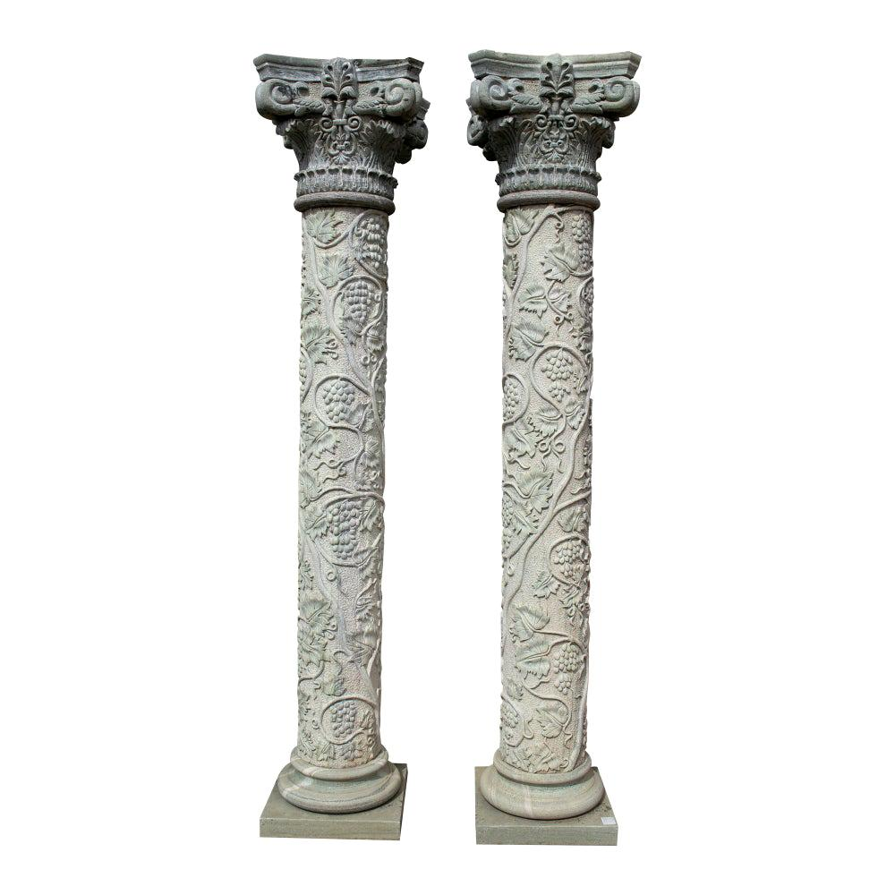 1990s Pair of Hand Carved Serpentine Green Marble Corinthian Columns