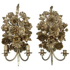 1990s Pair of Hollywood Regency Italian Wall Sconces Done in a Silver Gilt