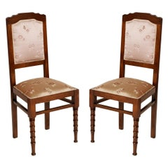 1900s Pair of Italian Art Nouveau Chairs, Restored with Original Silk Upholstery