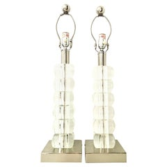 1990s Pair of Modernist Lucite Block and Chrome Table Lamps