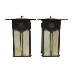 1990s Pair of Open Back Arts & Crafts Outdoor Sconces with Stained Amber Glass