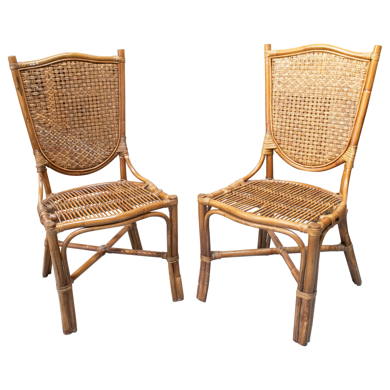 1990s Pair of Spanish Bamboo and Wicker Chairs