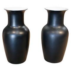 1990s Pair of Spanish Black Matte Finish Ceramic Vases