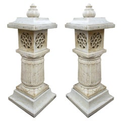 1990s Pair of Spanish Hand Carved Aged White Marble Garden Lamps