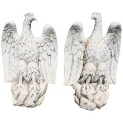 1990s Pair of Spanish Reconstituted Stone Eagles