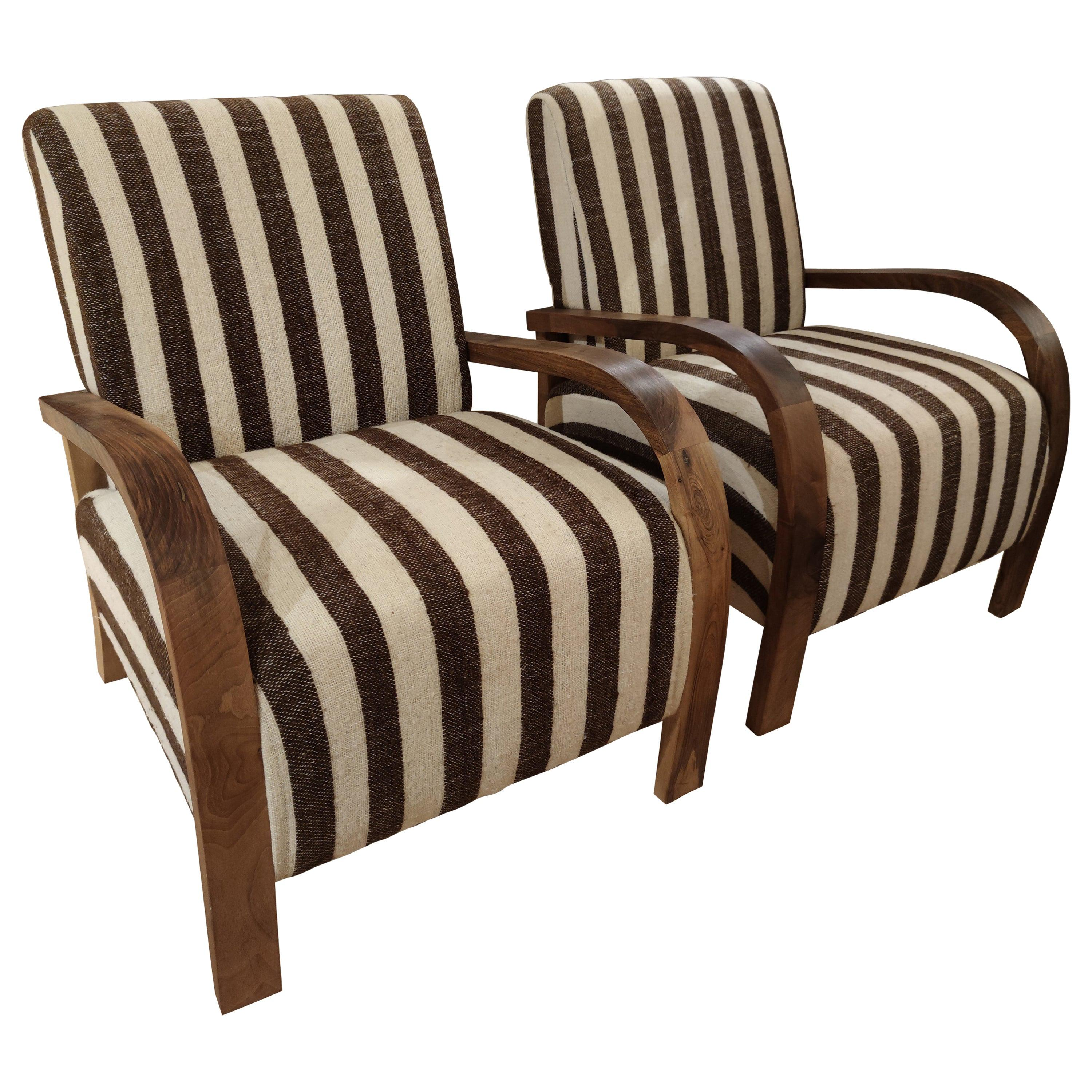 1990s Pair of Spanish Upholstered Armchairs