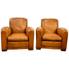 1990s Pair of Vintage French Leather Club Chairs with Studded Details