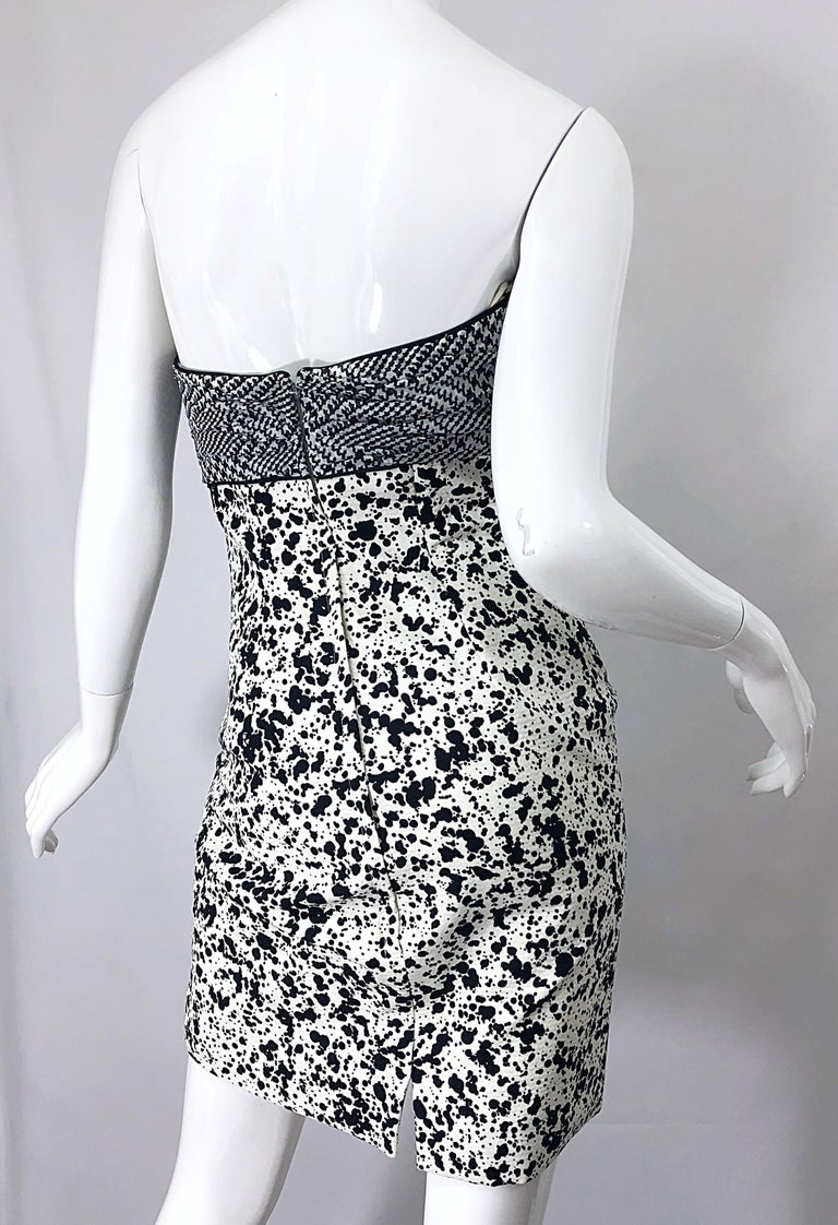 1990s Patricia Rhodes I Magnin Size 6 Black and White Vintage Strapless Dress For Sale 6