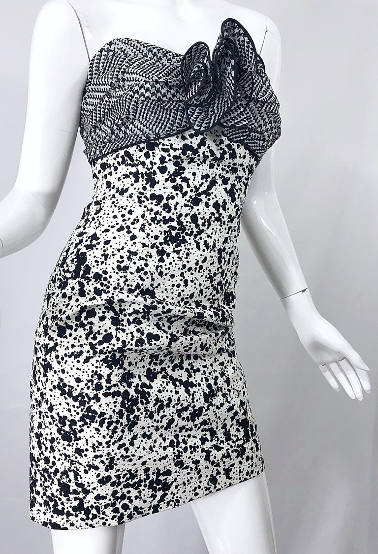 1990s Patricia Rhodes I Magnin Size 6 Black and White Vintage Strapless Dress For Sale 7