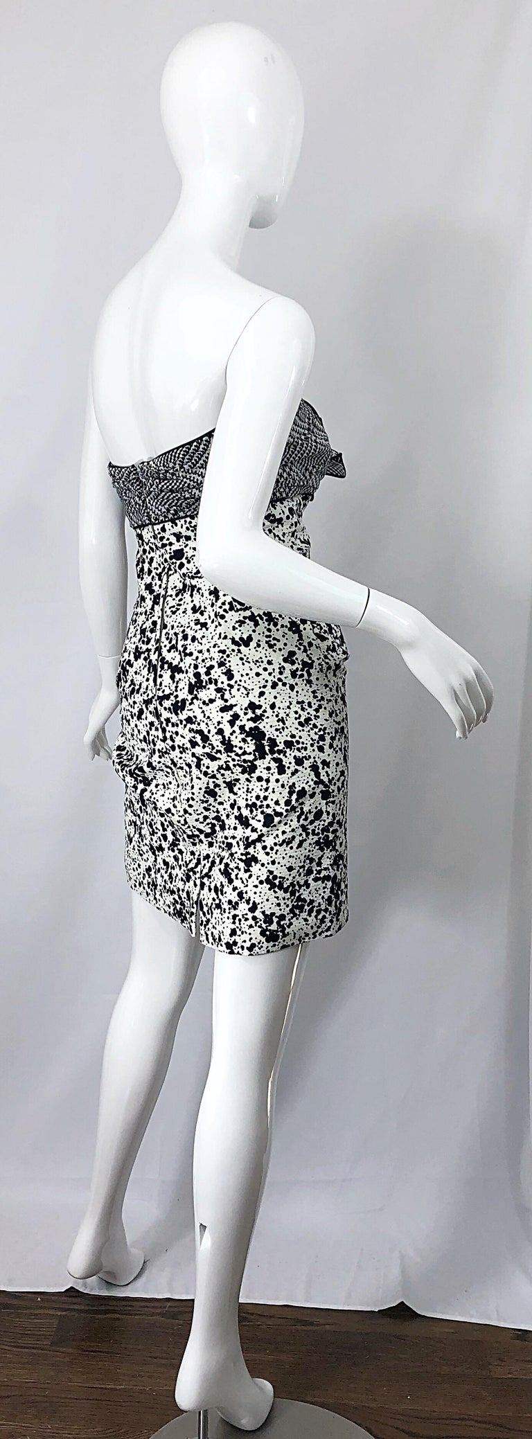 1990s Patricia Rhodes I Magnin Size 6 Black and White Vintage Strapless Dress For Sale 8