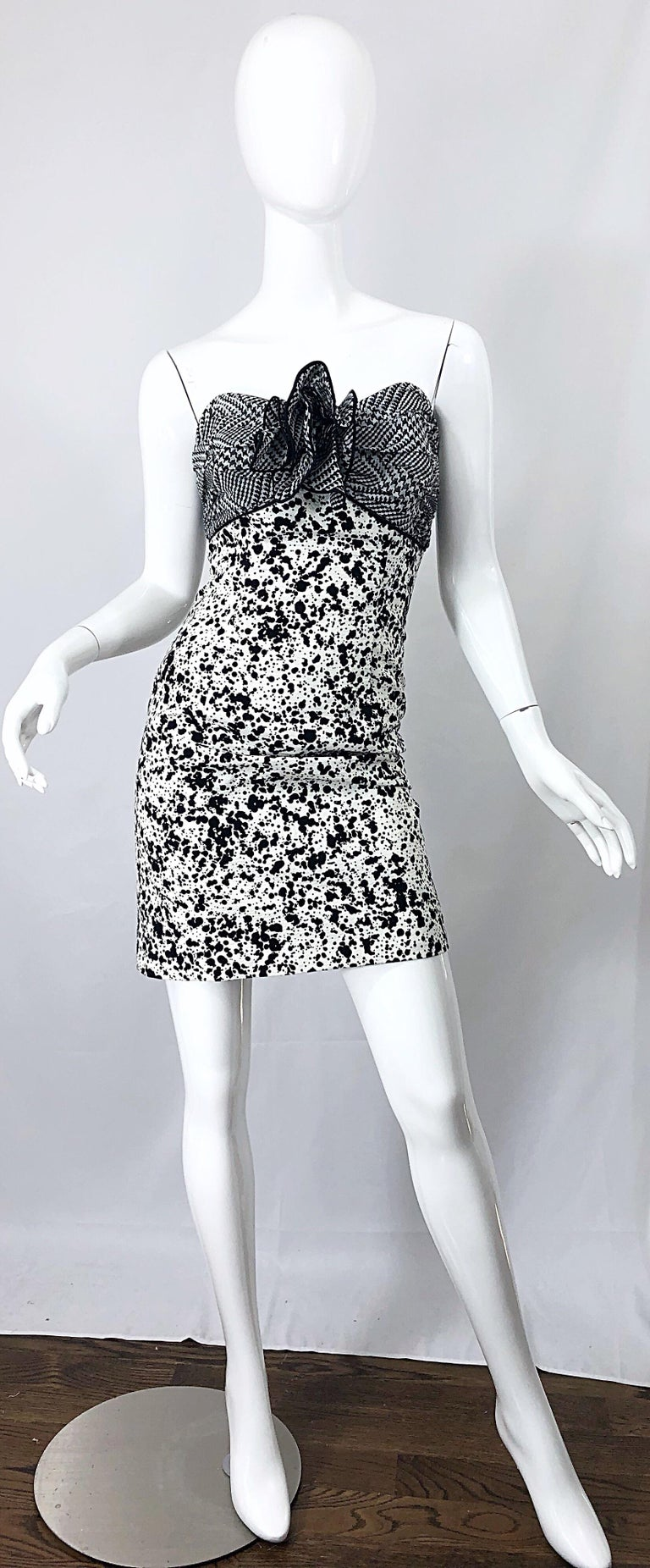 1990s Patricia Rhodes I Magnin Size 6 Black and White Vintage Strapless Dress For Sale 10