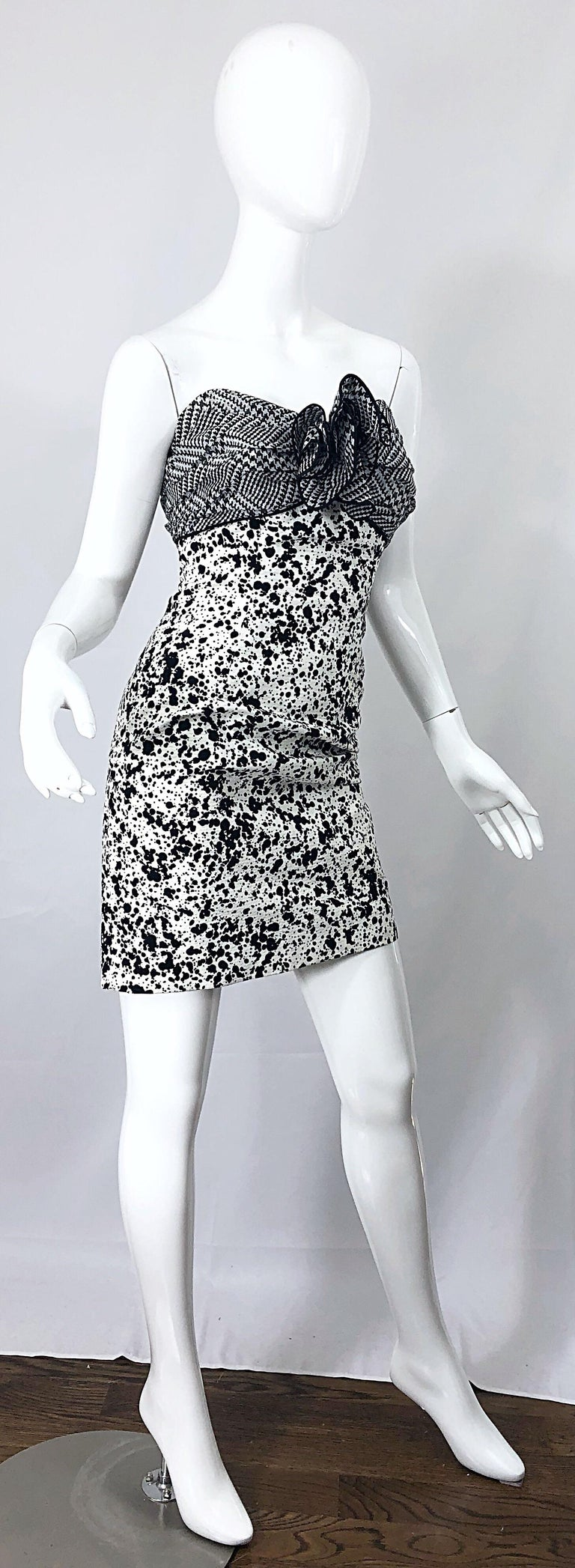 1990s Patricia Rhodes I Magnin Size 6 Black and White Vintage Strapless Dress For Sale 1