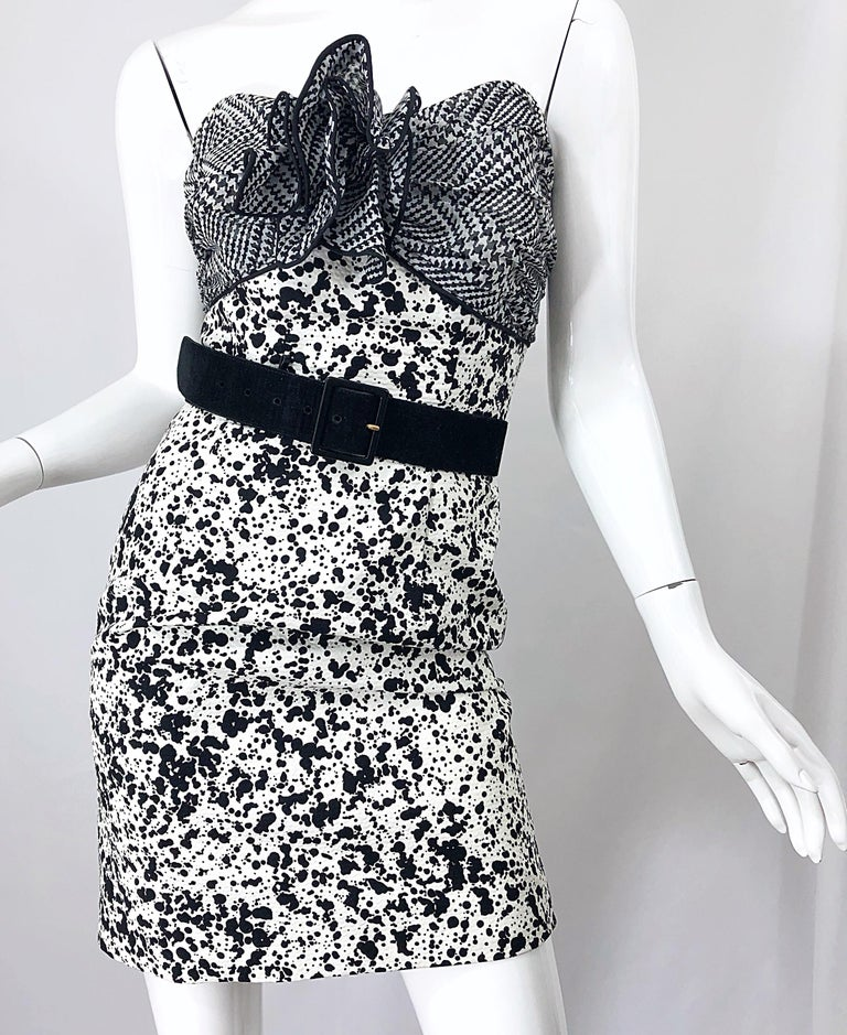 1990s Patricia Rhodes I Magnin Size 6 Black and White Vintage Strapless Dress For Sale 2