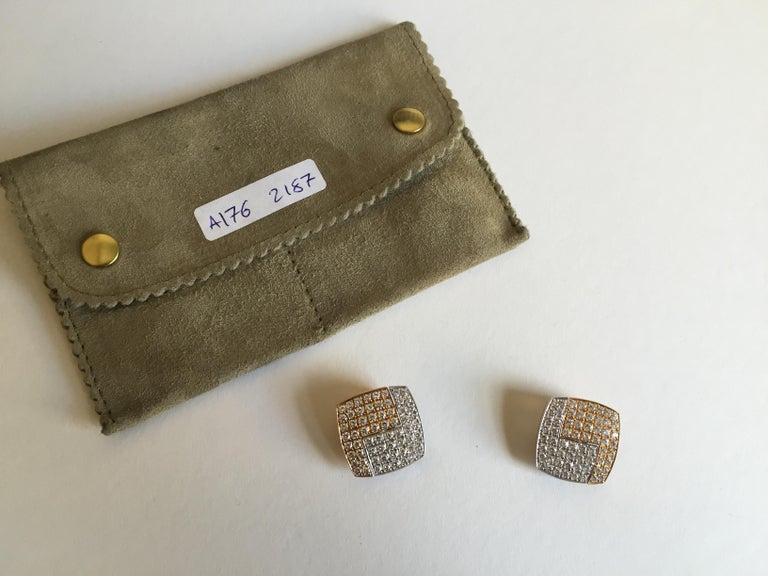 Women's or Men's 1990s Paul Binder Diamonds Gold Square Earrings For Sale