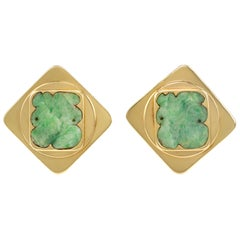 1990s Paul Binder Modern Jadeite and Gold Earrings