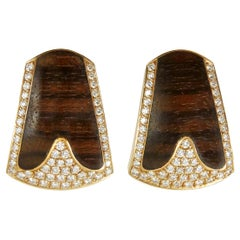 1990s Paul Binder Wood, Diamond and Gold Earrings