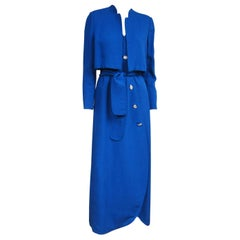 1990s Pauline Trigere Scalloped Wrap Blue Gown & Bolero Jacket