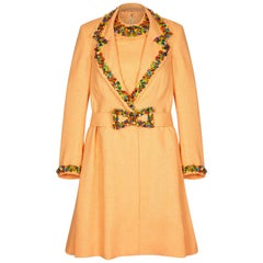 1990s Peach Couture Dress and Jacket Set With Venetian Glass Beads