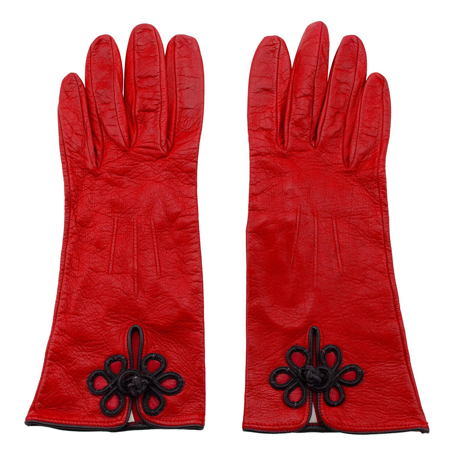 1990s Perry Ellis Red Leather Gloves with Black Passimenterie