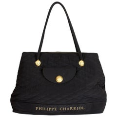 1990s Philippe Charriol Quilted Black Gold Canvas Handbag Hobo