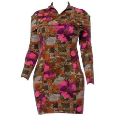 1990S Pink & Green Floral Viscose Blend Italian Knit Long Sleeve Body-Con Dress