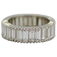 1990s Platinum Baguette Cut Diamond 3 Carat Eternity Band Ring