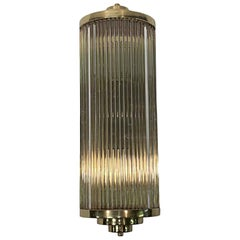 1990s Polished Brass & Glass Rod Wall Sconce Done in a Mid-Century Modern Style