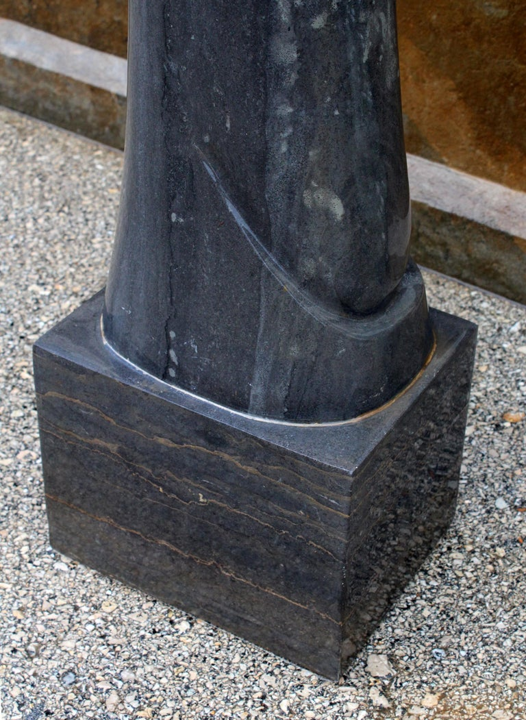 1990s Polished Modern Abstract Sculpture in Pure Belgian Black Marble For Sale 6