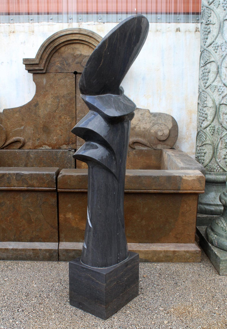 1990s Polished Modern Abstract Sculpture in Pure Belgian Black Marble In Good Condition For Sale In Malaga, ES