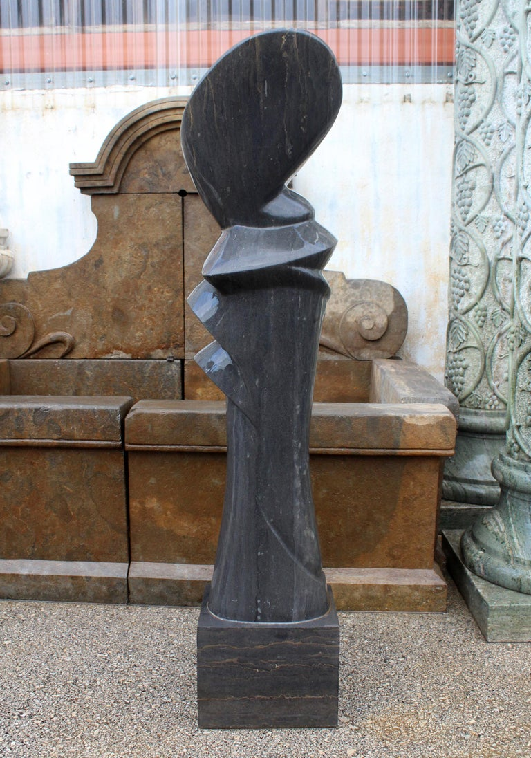 20th Century 1990s Polished Modern Abstract Sculpture in Pure Belgian Black Marble For Sale
