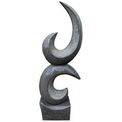 1990s Polished Modern Abstract Sculpture in Pure Belgian Black Marble