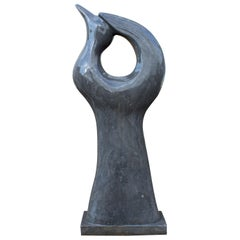 1990s Polished Modern Abstract Sculpture of a Dove in Black Belgian Marble