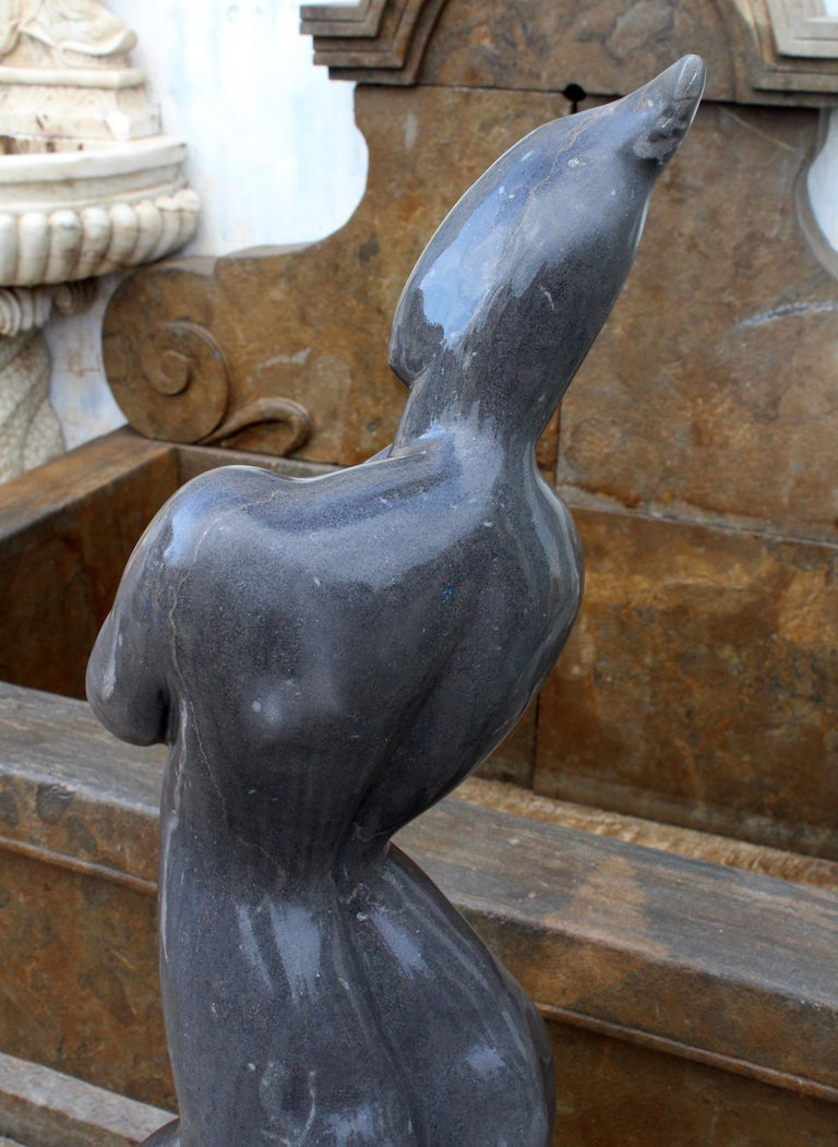 1990s Polished Modern Figurative Woman Sculpture in Pure Belgian Black Marble For Sale 7