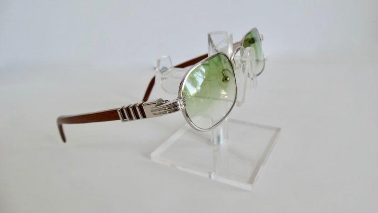 Gray Porta Romana 1990s Green Ombre Lens Sunglasses  For Sale
