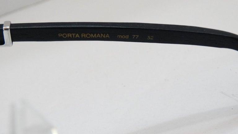Porta Romana 1990s Skinny Black Wood Stain Sunglasses  In Good Condition For Sale In Scottsdale, AZ