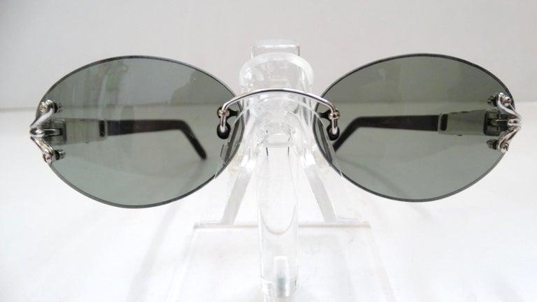 Porta Romana 1990s Skinny Black Wood Stain Sunglasses  For Sale 3