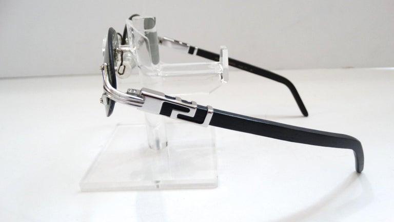 Porta Romana 1990s Skinny Black Wood Stain Sunglasses  For Sale 4