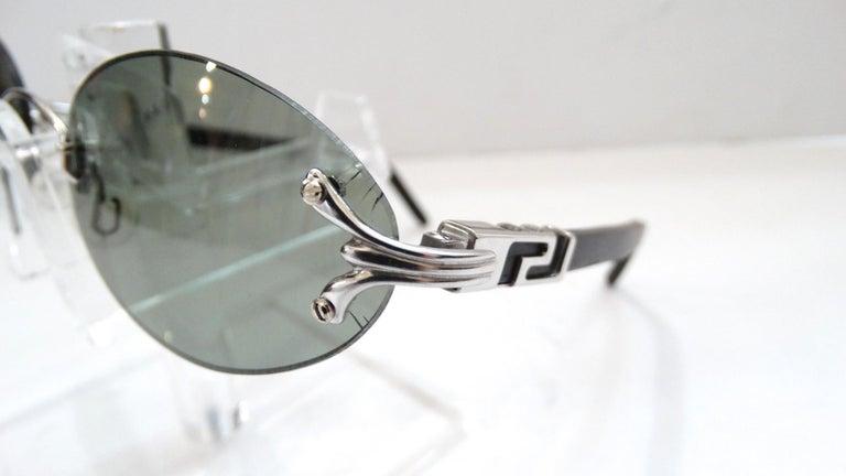 Porta Romana 1990s Skinny Black Wood Stain Sunglasses  For Sale 5