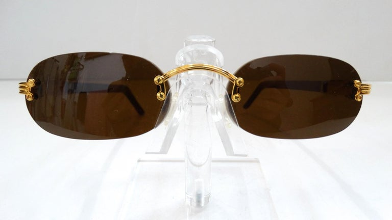 Porta Romana 1990s Skinny Chocolate Wood Stain Sunglasses  In Good Condition For Sale In Scottsdale, AZ