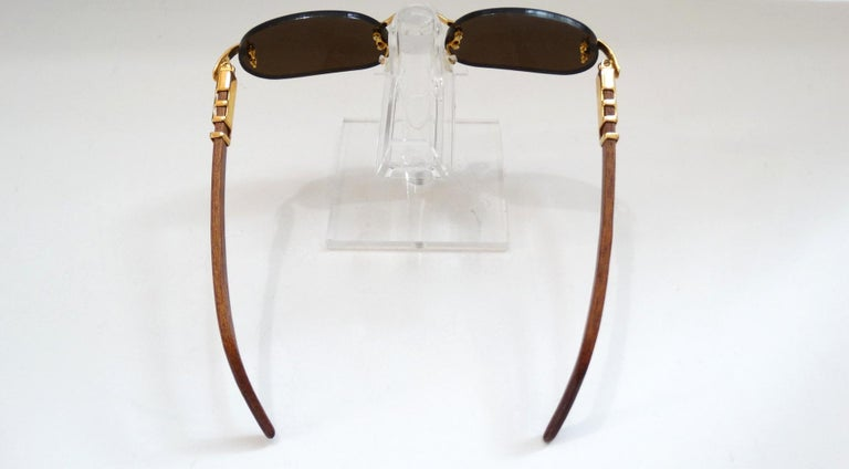 Porta Romana 1990s Skinny Chocolate Wood Stain Sunglasses  For Sale 1