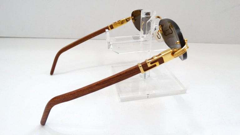 Porta Romana 1990s Skinny Chocolate Wood Stain Sunglasses  For Sale 3