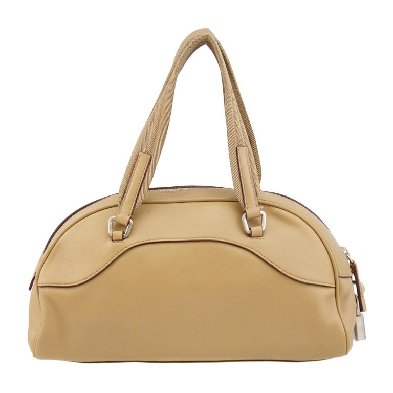 1990s Prada Beige Leather Bowling Bag  In Good Condition For Sale In Toronto, Ontario