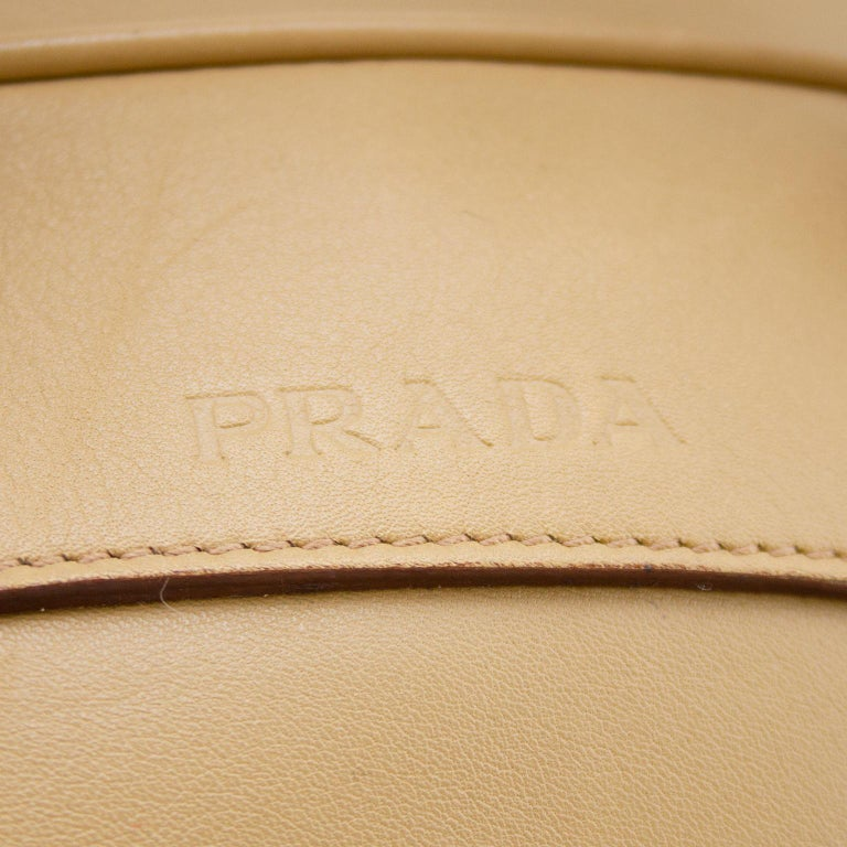 Women's or Men's 1990s Prada Beige Leather Bowling Bag  For Sale