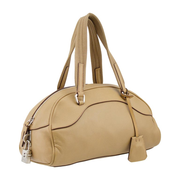 1990s Prada Beige Leather Bowling Bag  For Sale