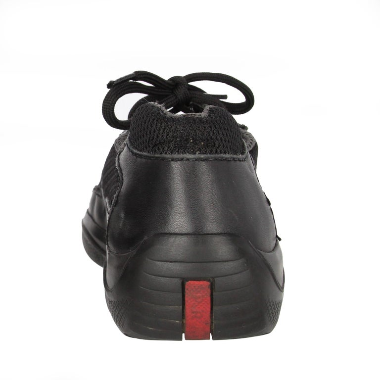 1990s Prada Black Lace-up Shoes For Sale 8