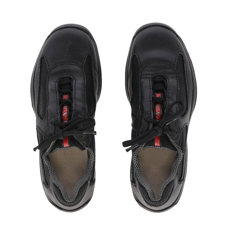 1990s Prada Black Lace-up Shoes For Sale 2