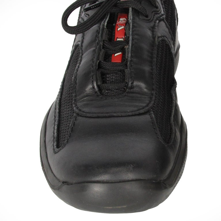 1990s Prada Black Lace-up Shoes For Sale 4