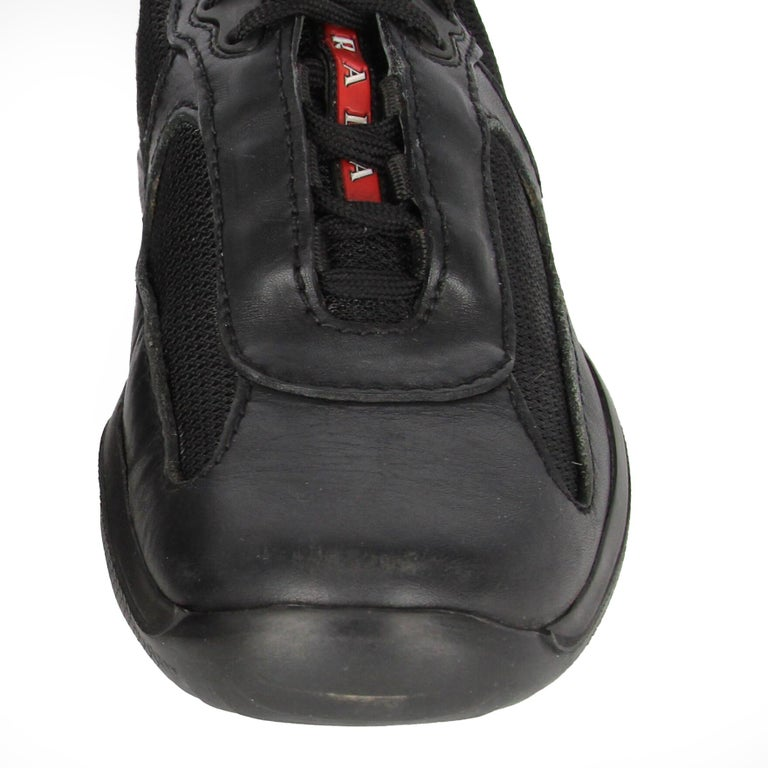 1990s Prada Black Lace-up Shoes For Sale 5